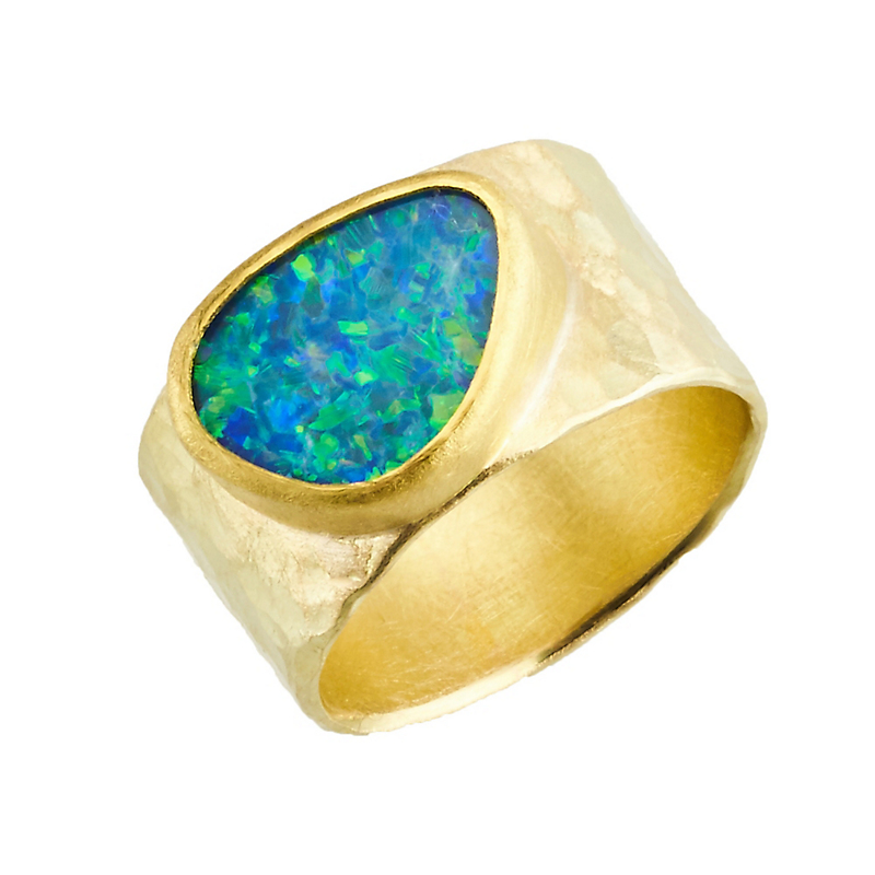 Petra Class Opal Doublet Gold Hammered Wide Band Ring