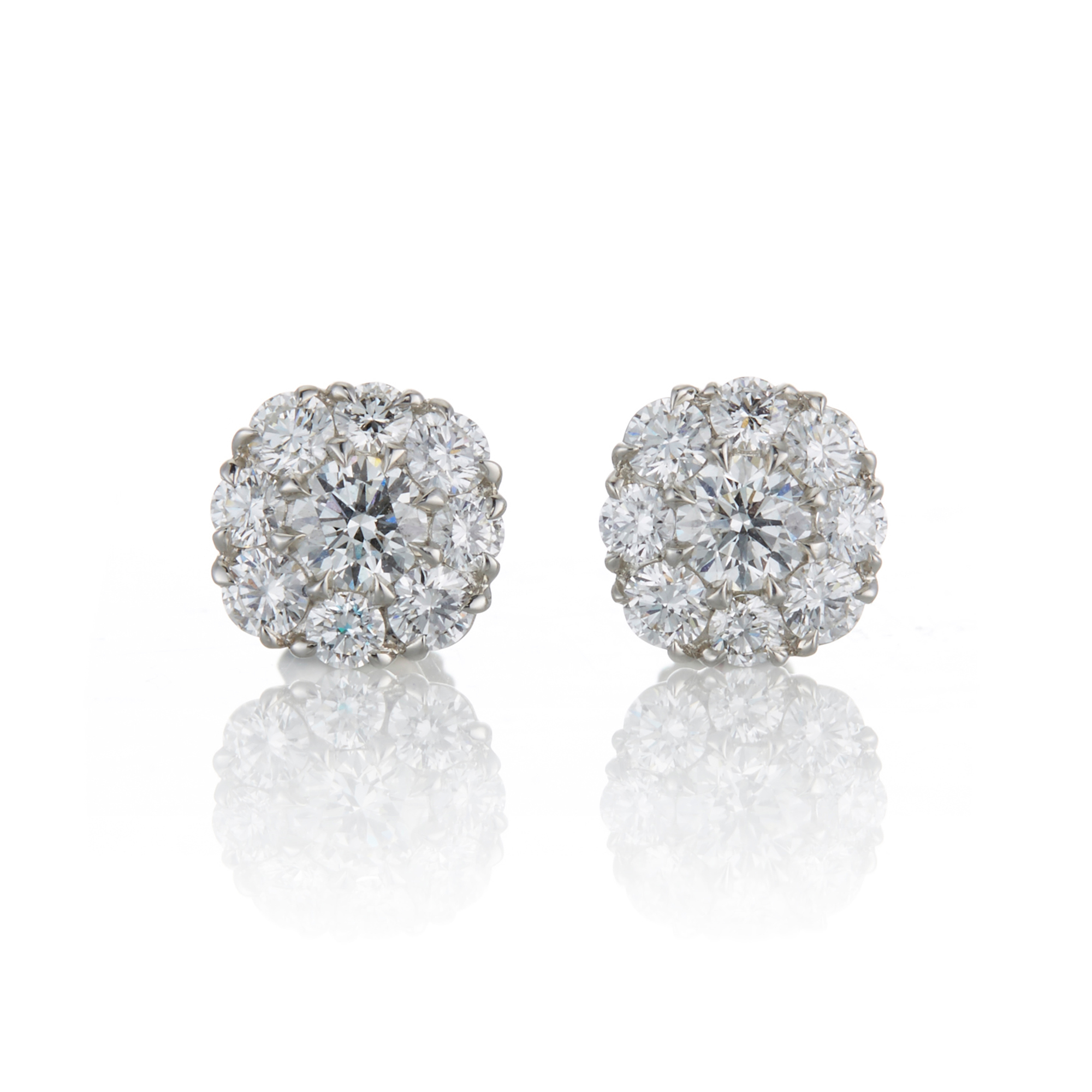 McTeigue & McClelland Platinum & Diamond Berry Cluster Earrings