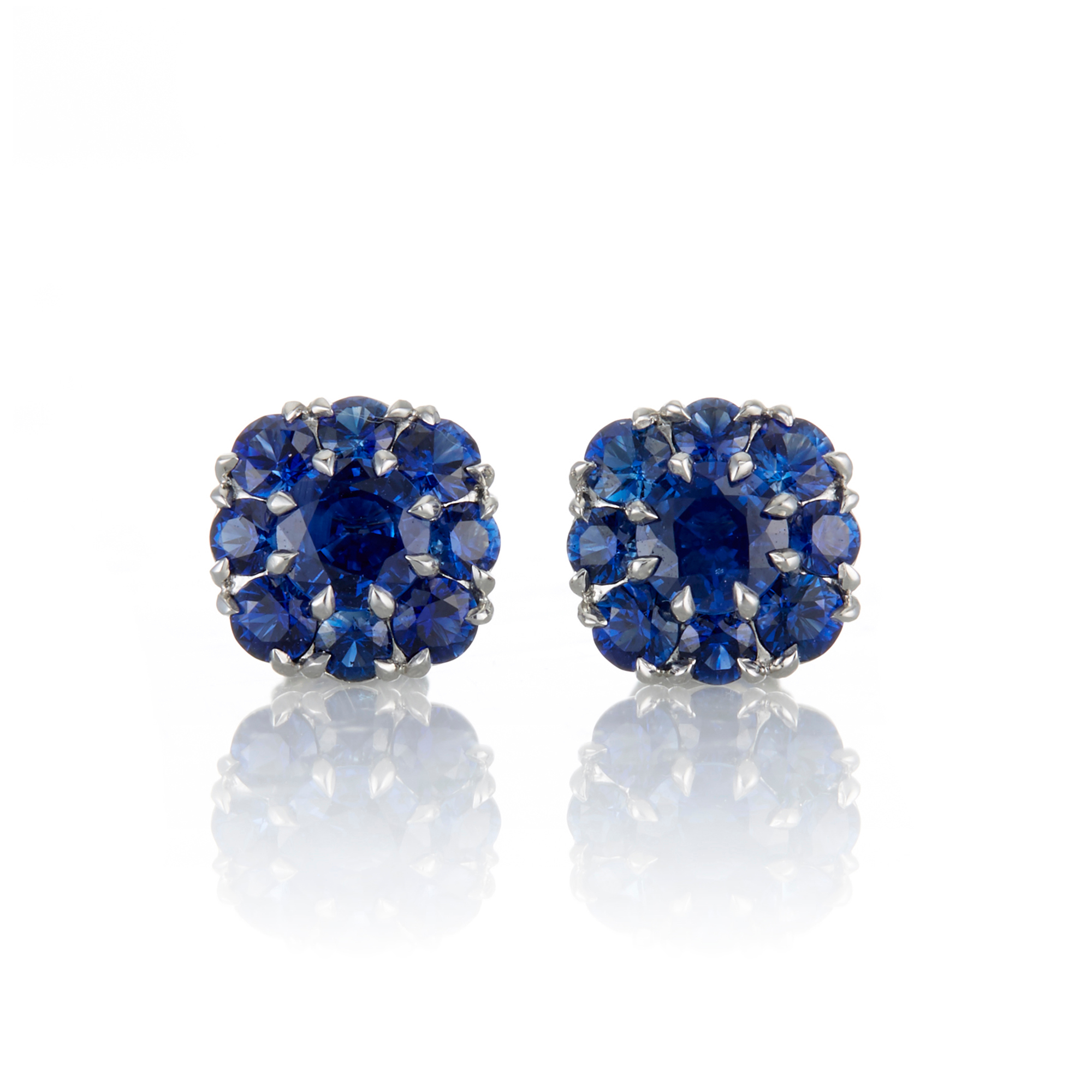 McTeigue & McClelland Sapphire Berry Cluster Platinum Earrings