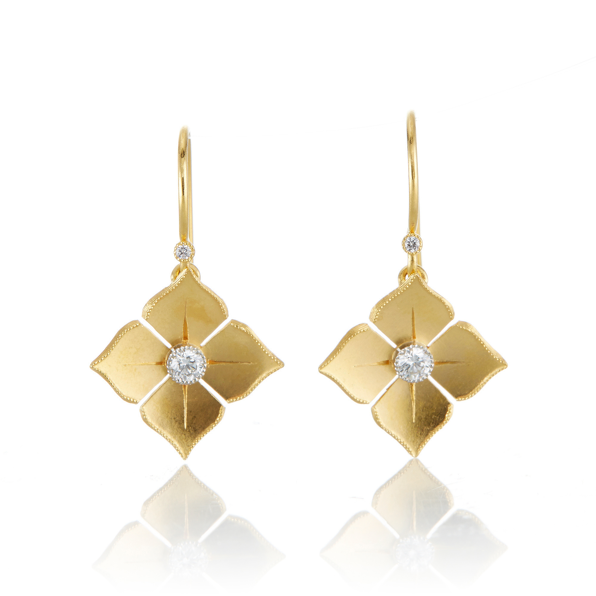 McTeigue & McClelland Platinum & Gold Quadrille Drop Earrings