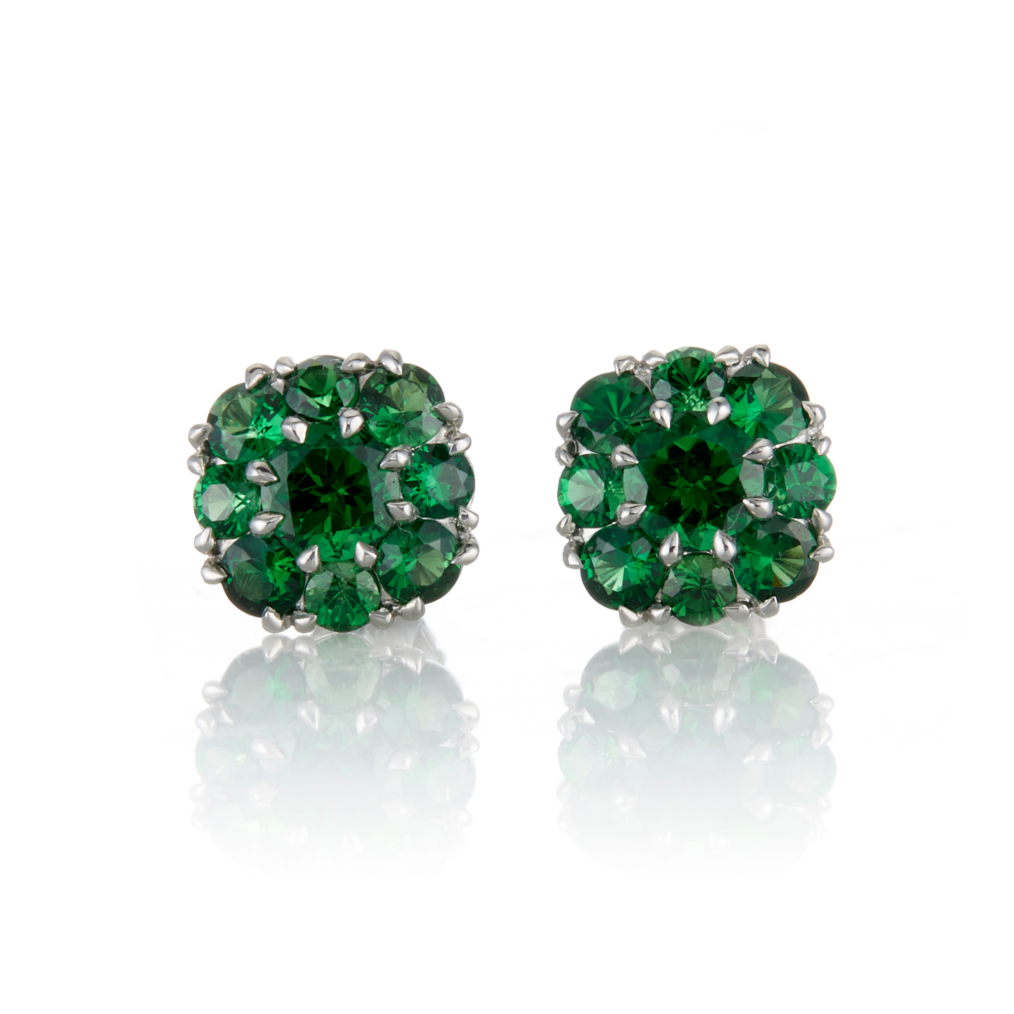 McTeigue & McClelland Tsavorite Berry Cluster Platinum Earrings