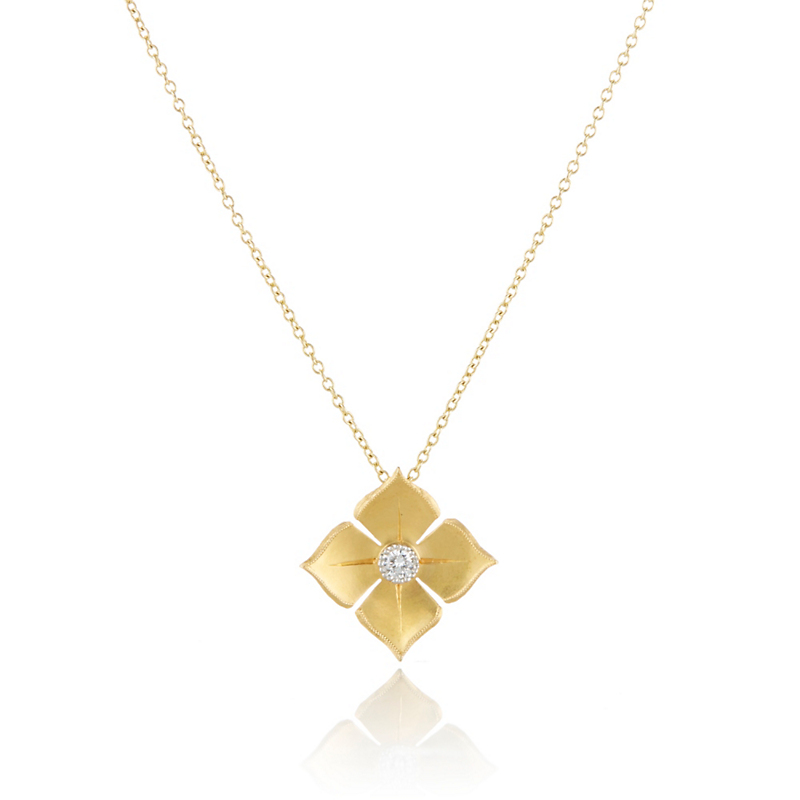 McTeigue & McClelland Gold & Platinum Diamond Quadrille Pendant Necklace