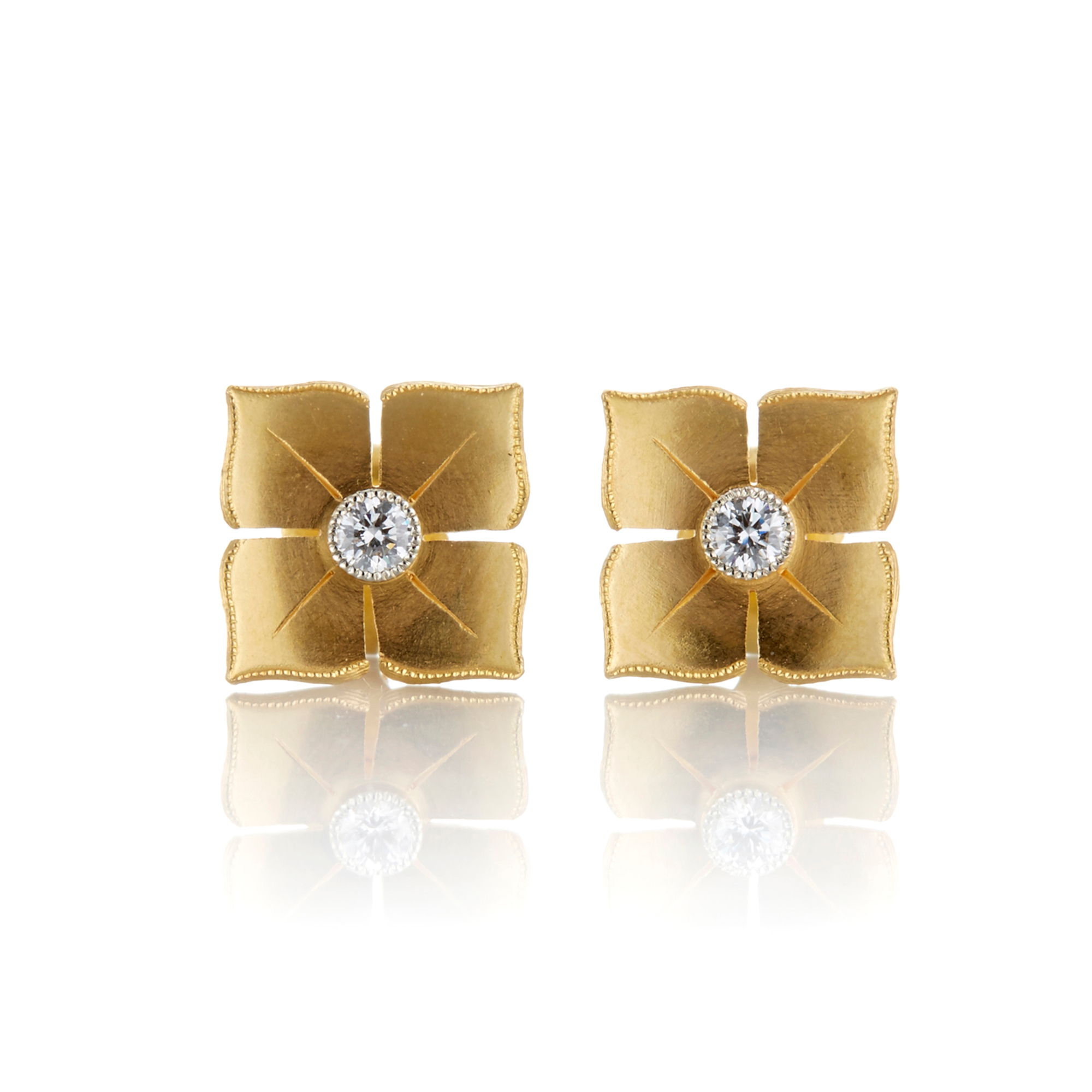 McTeigue & McClelland Platinum & Gold Petite Quadrille Stud Earrings