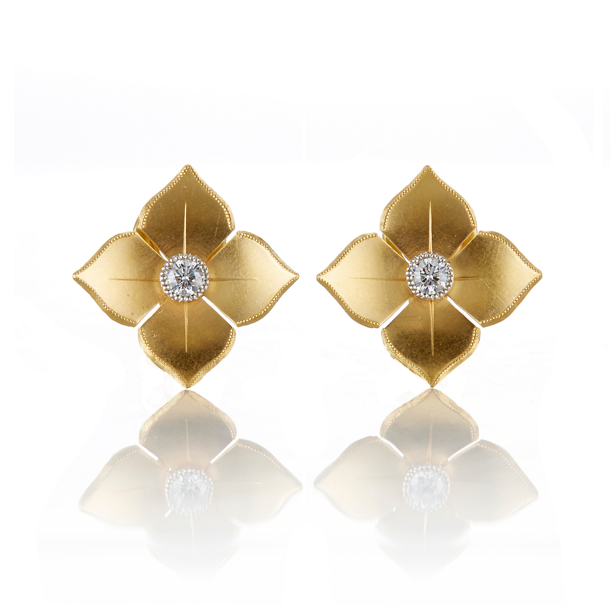 McTeigue & McClelland Platinum & Gold Large Quadrille Stud Earrings