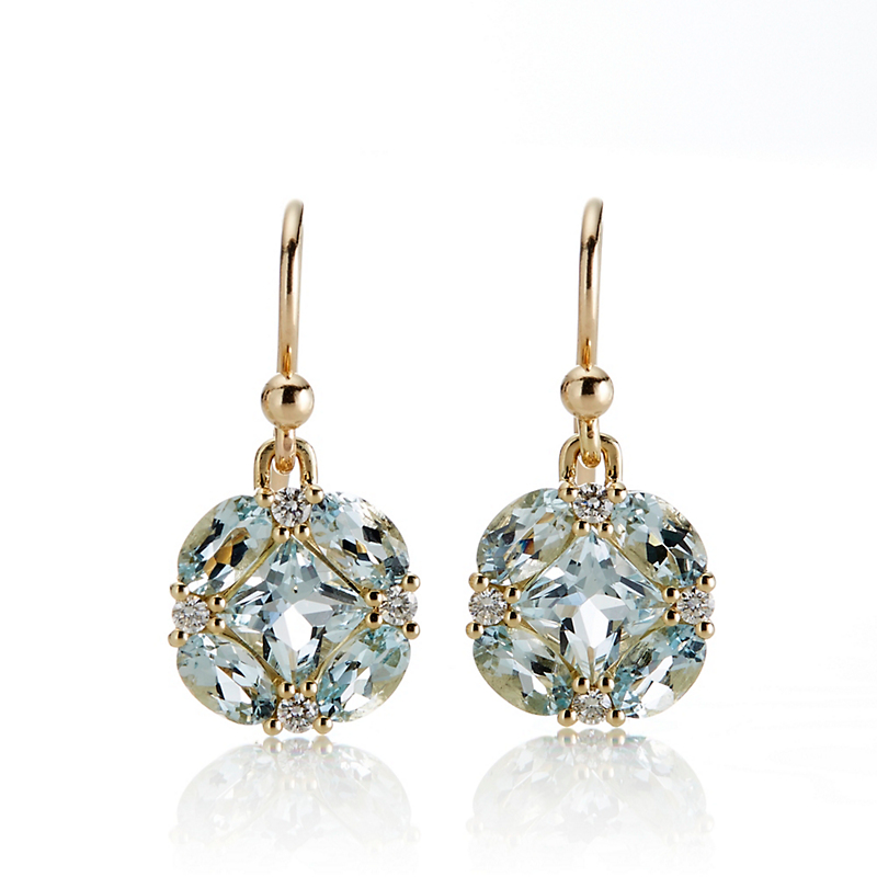 Gump's Aquamarine & Diamond Quadrille Drop Earrings