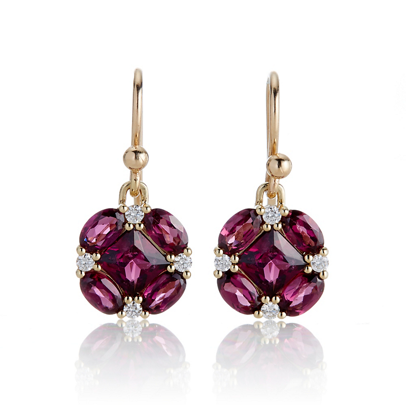 Gump's Rhodolite Garnet and Diamond Quadrille Drop Earrings