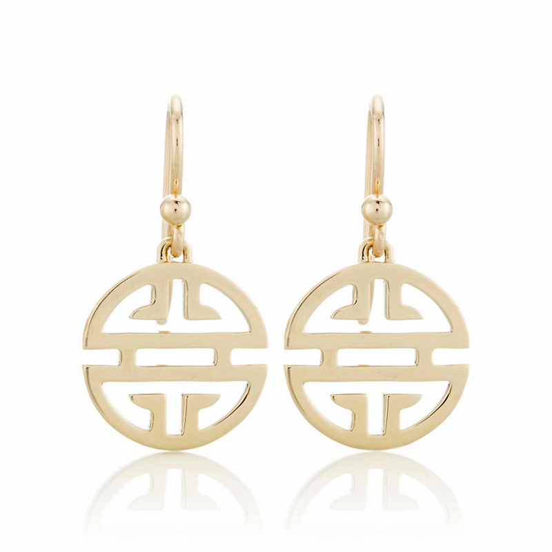 Openwork Gold Shou Drop Earrings