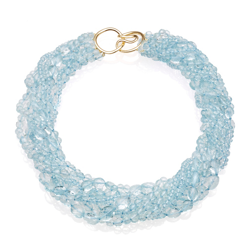Gump's Nine Strand Multi Faceted Aquamarine Twist Necklace