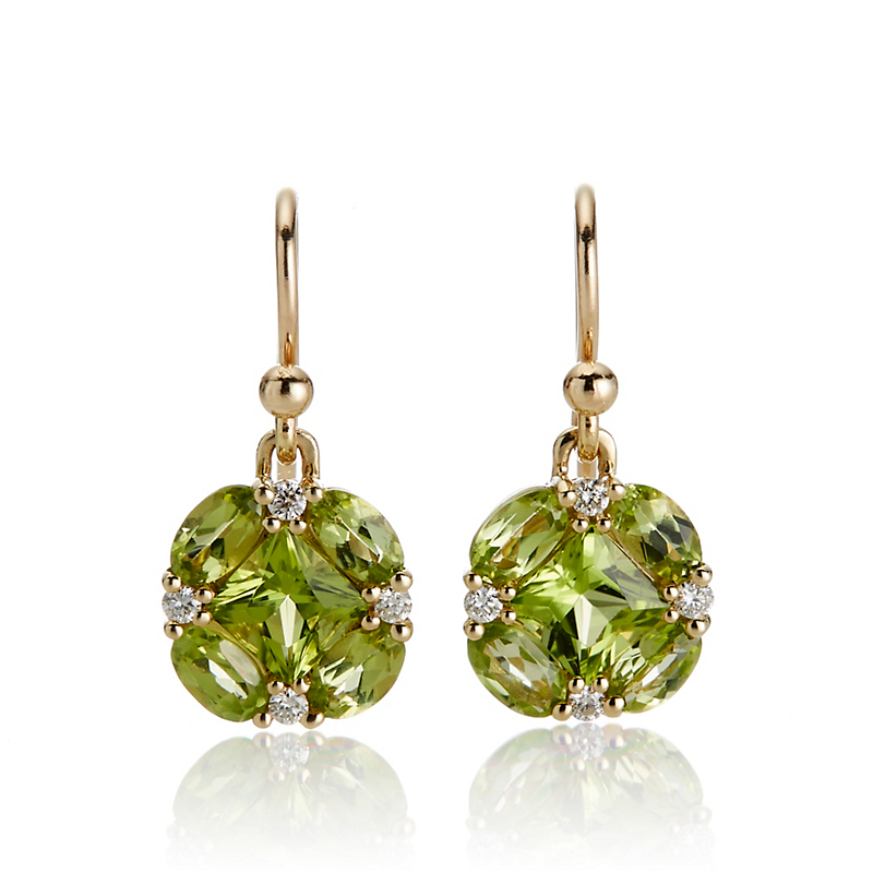Gump's Peridot & Diamond Quadrille Drop Earrings