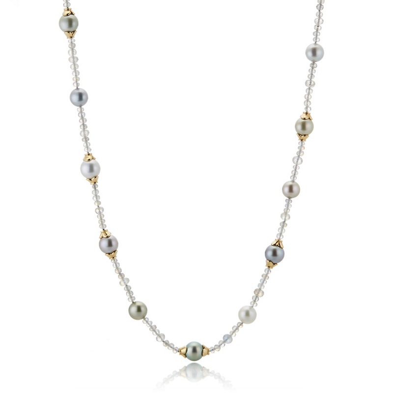 Gump's South Sea Pearl & Labradorite Rope Necklace