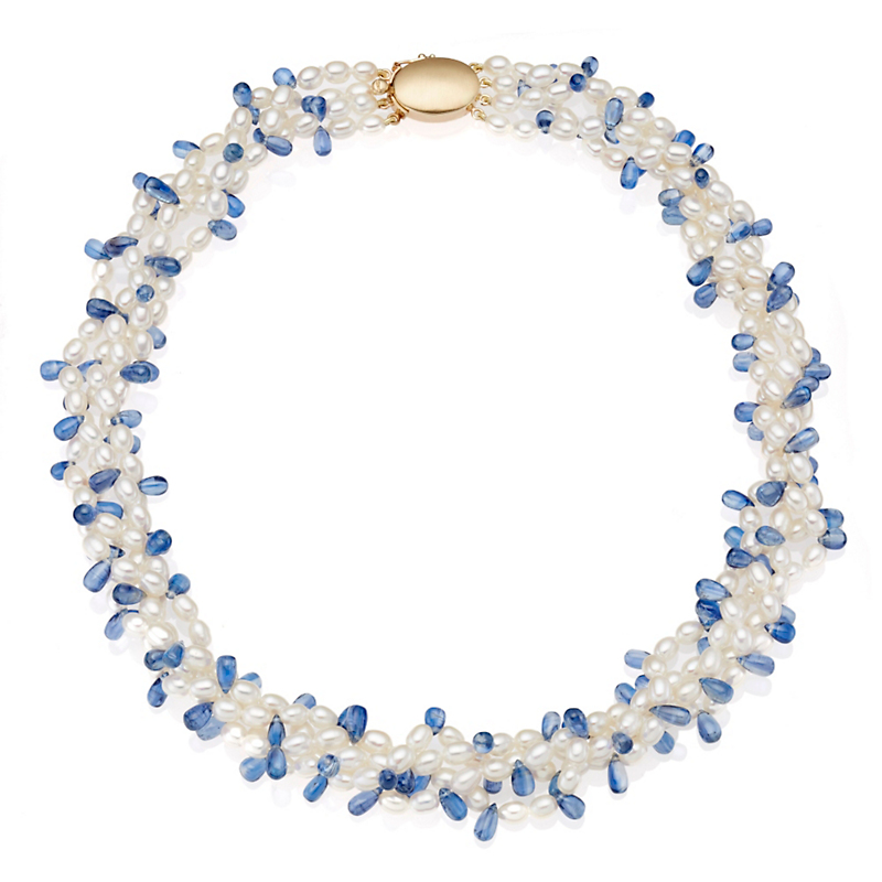 Gump's Freshwater Pearl & Kyanite Multi-Strand Necklace