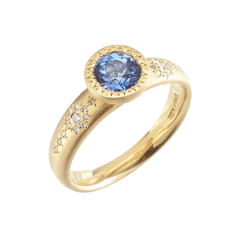 Adel Chefridi Shimmer Diamond and Sapphire Solitaire Ring