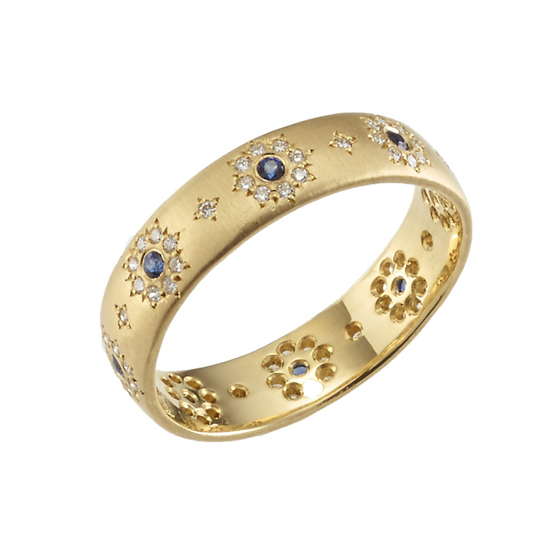 Adel Chefridi Shimmer Sapphire and Diamond Band Ring