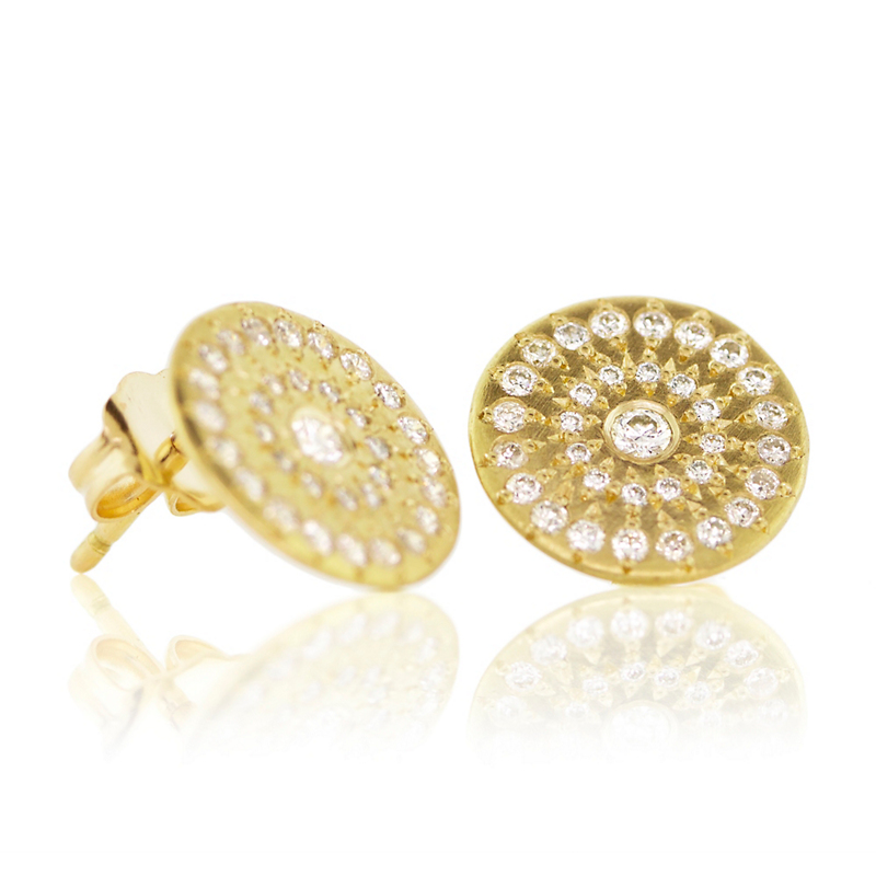 Adel Chefridi Diamond and Gold Star Stud Earrings