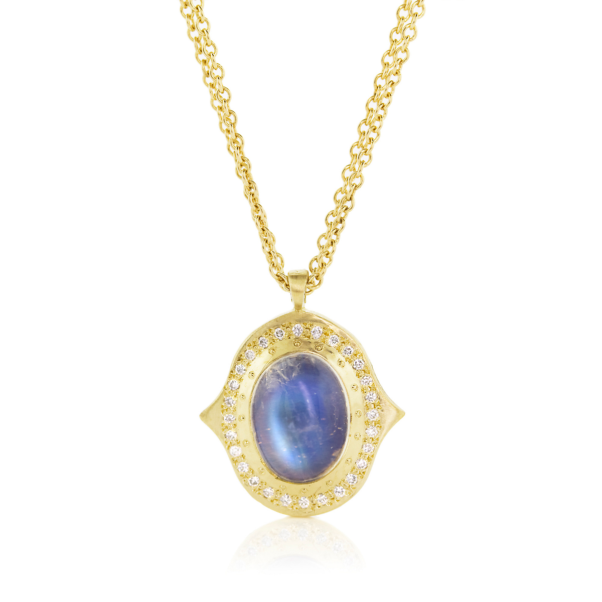 Adel Chefridi Grace Moonstone and Diamond Pendant Necklace