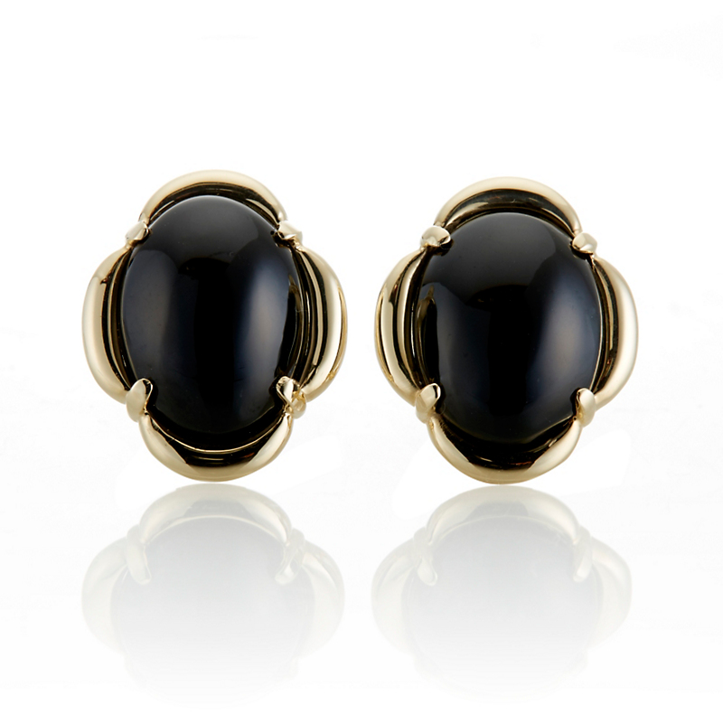 Gump's Black Jade Cabochon Scalloped Earrings