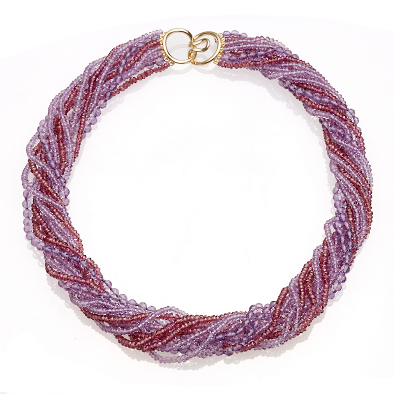 Gump's Faceted Amethyst and Garnet Twist Necklace