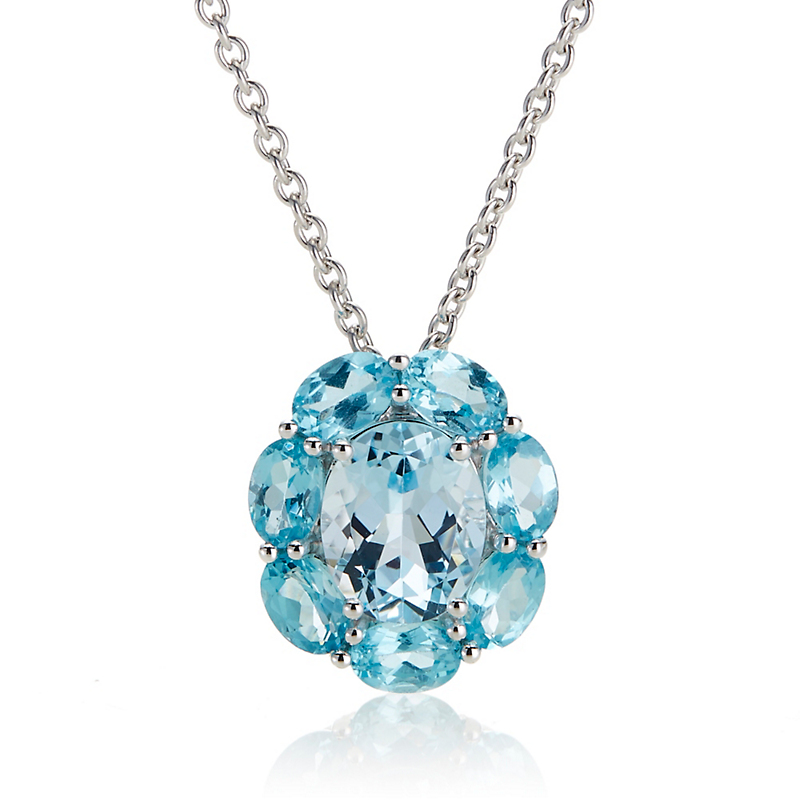 Gump's Apatite & Sky Blue Topaz Flower Pendant Necklace
