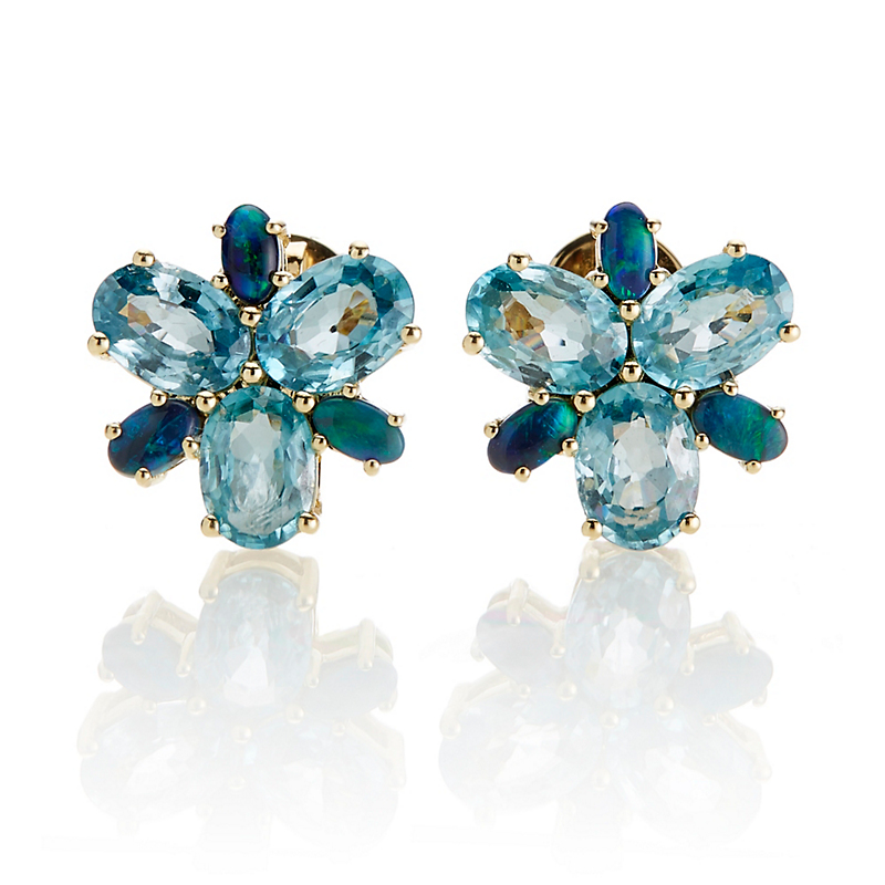 Gump's Blue Zircon & Black Opal Earrings