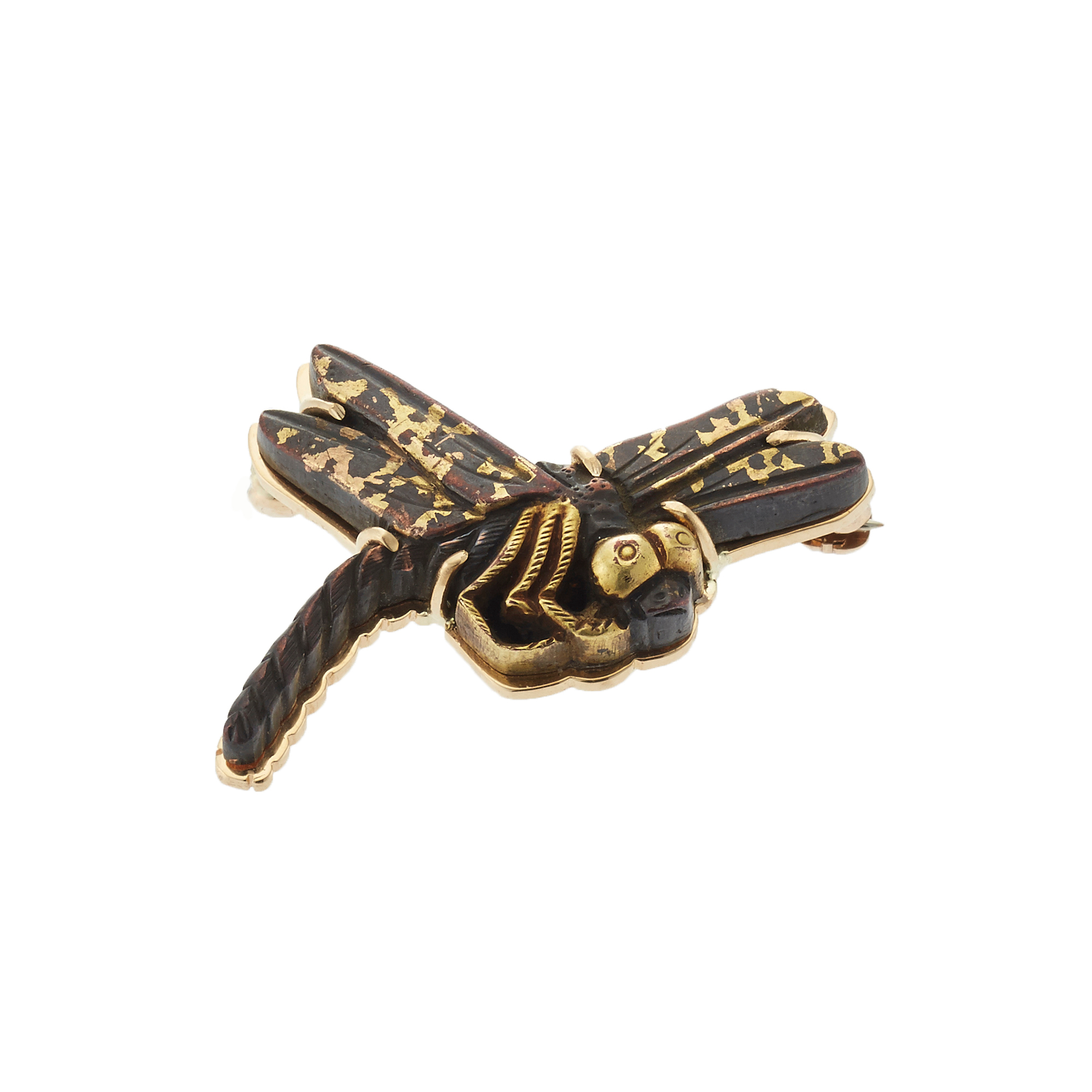 Gump's Antique Japanese Dragonfly Menuki and Gold Brooch