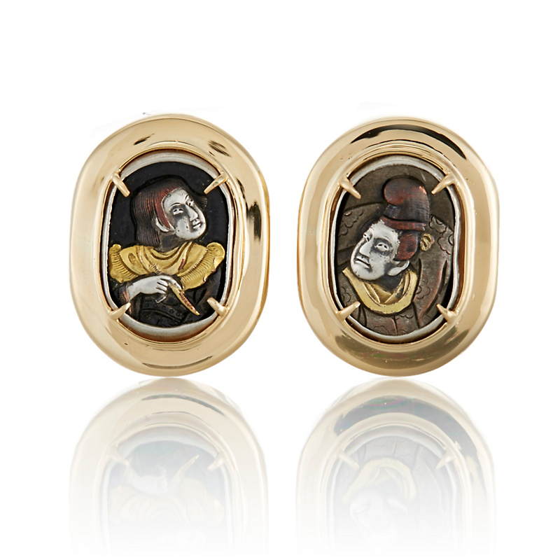 Gump's Court Figures in Shakudo and Gold Bezel Earrings