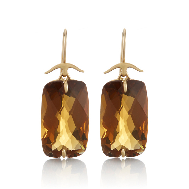 Gabriella Kiss Rectangular Whiskey Quartz and Gold Drop Earrings
