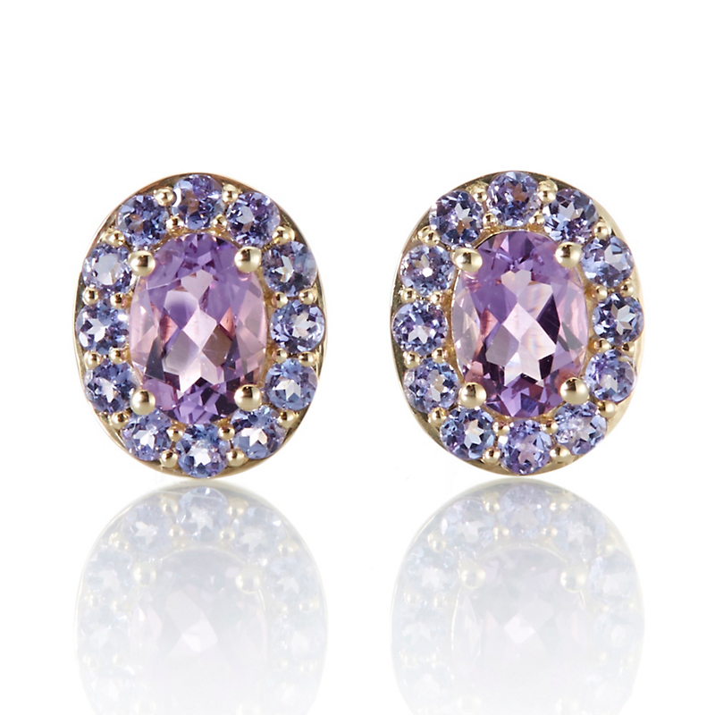 Gump's Amethyst and Tanzanite Oval Stud Earrings