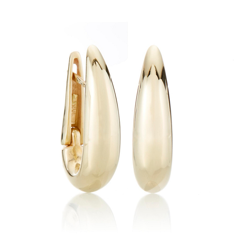 Rounded Tapered Gold Hoop Earrings