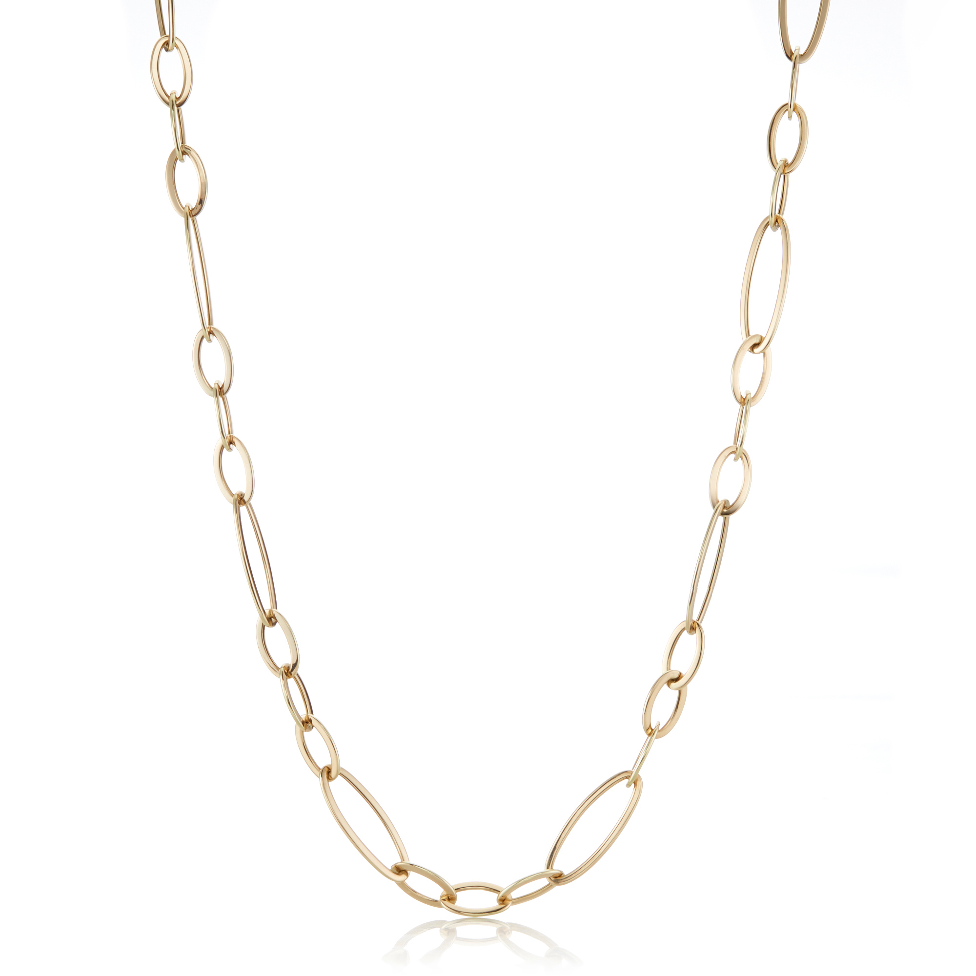 Multi Oval Link Long Necklace