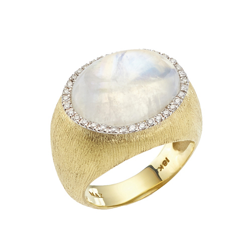 Florentine Gold with Moonstone Cabochon and Diamond Ring