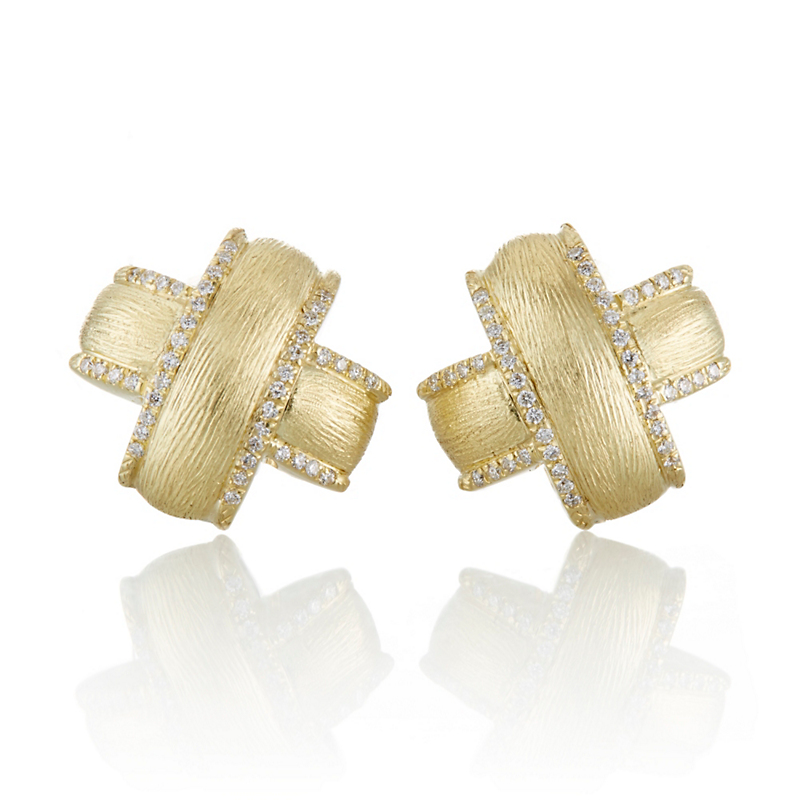 "Florentine Gold  ""X"" Design and Diamond Earrings"
