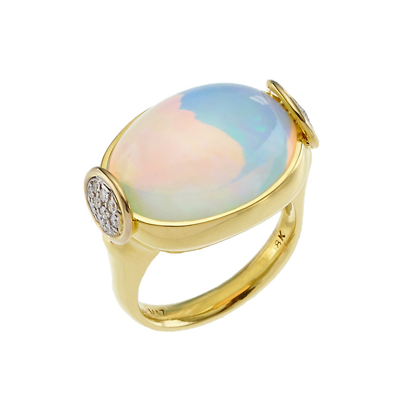Ethiopian Opal Cabochon and Diamond Gold Ring