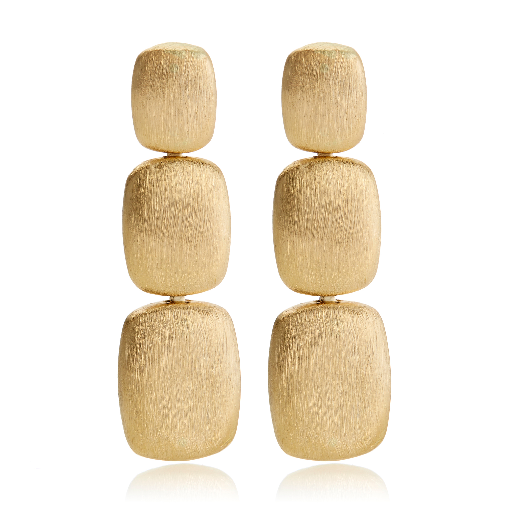 Brushed Gold Rounded Rectangle Drop Earrings