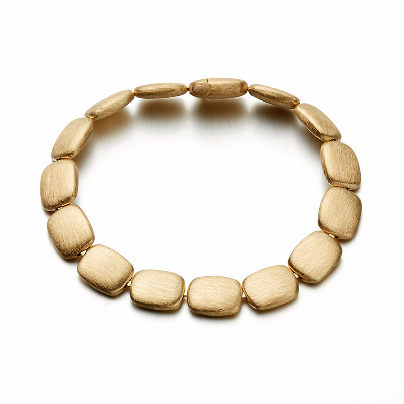 Brushed Gold Rounded Rectangle Link Bracelet