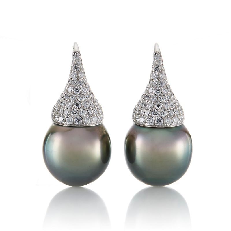 Pavé Diamond with Tahitian Drop White Gold Earrings