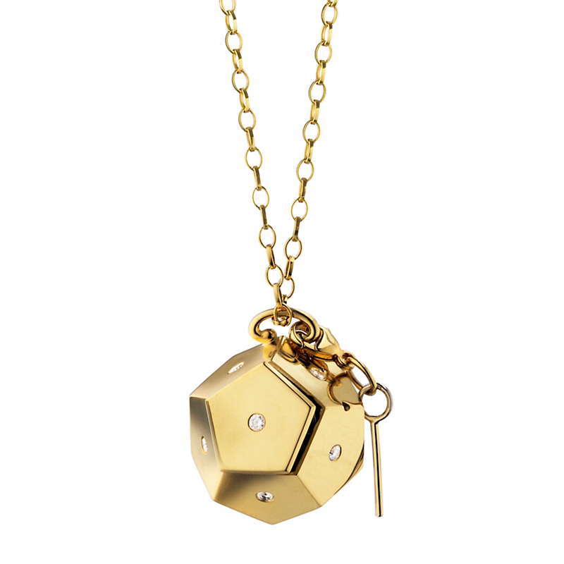 Monica Rich Kosann Geometric Secret Message in a Box Gold and Diamond Charm Necklace