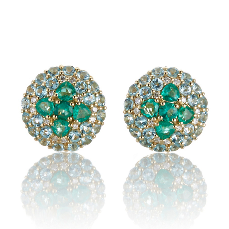 Gump's Pavé Apatite, Diamond and Emerald Clover Button Earrings