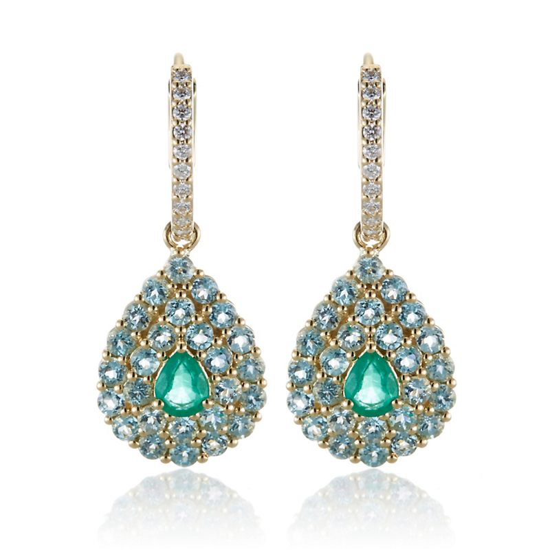 Gump's Pavé Apatite, Diamond & Emerald Teardrop Earrings