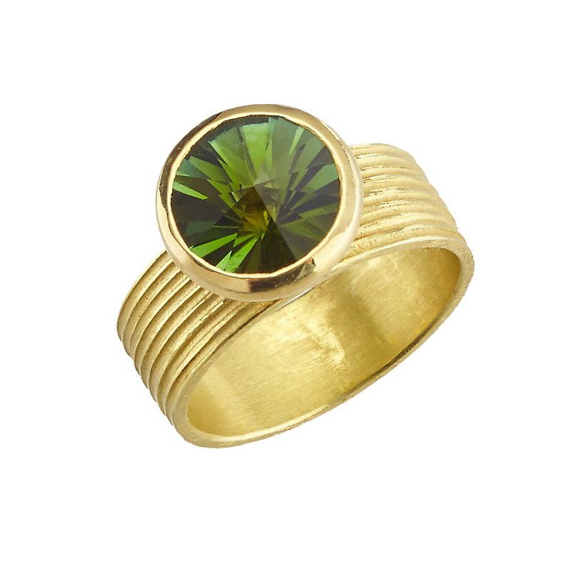 Barbara Heinrich Green Tourmaline with Grooved Band Ring