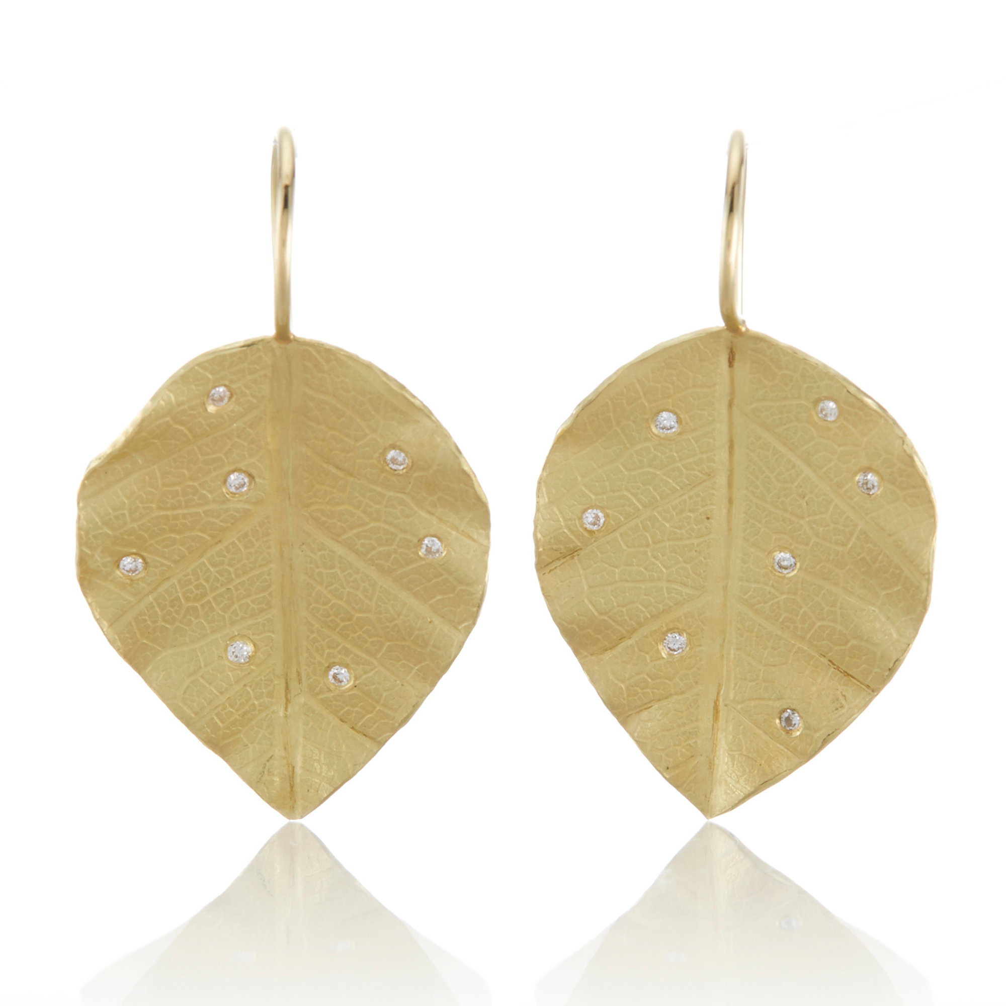 Barbara Heinrich Gold with Diamond Poplar Leaf Earrings
