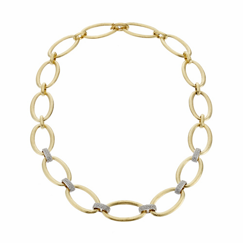 Gold Open Oval and Diamond Link Necklace