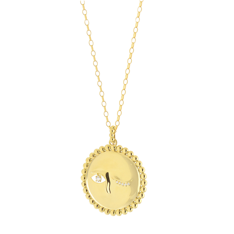 Monica Rich Kosann Winking Full Moon Gold and Diamond Charm Necklace