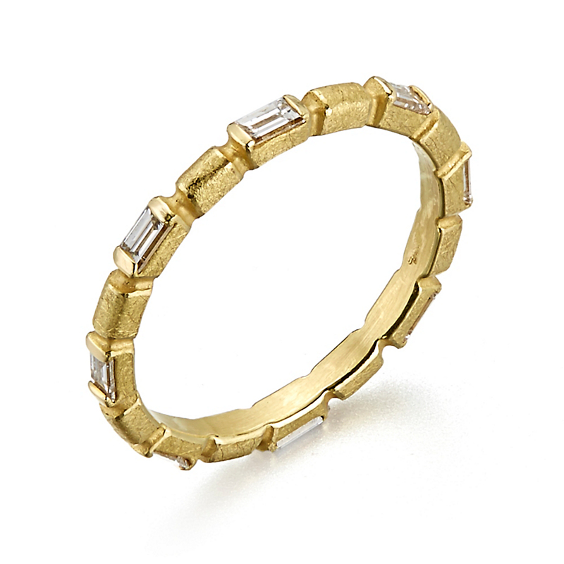 Barbara Heinrich Diamond Bamboo Baguette Ring