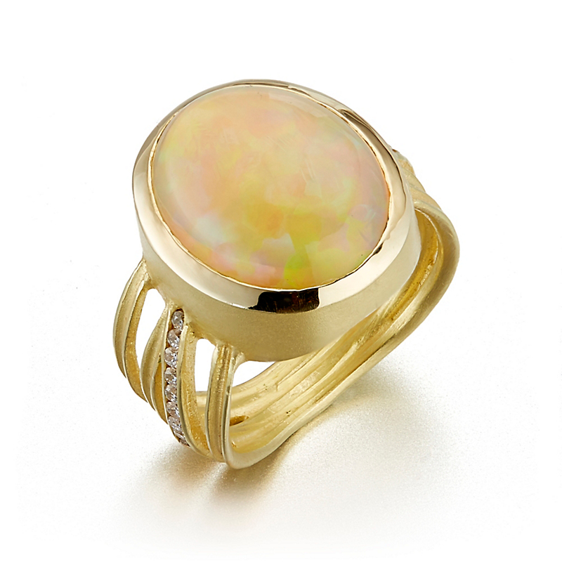 Barbara Heinrich Channel Set Diamond Criss Cross Opal Cabochon Ring
