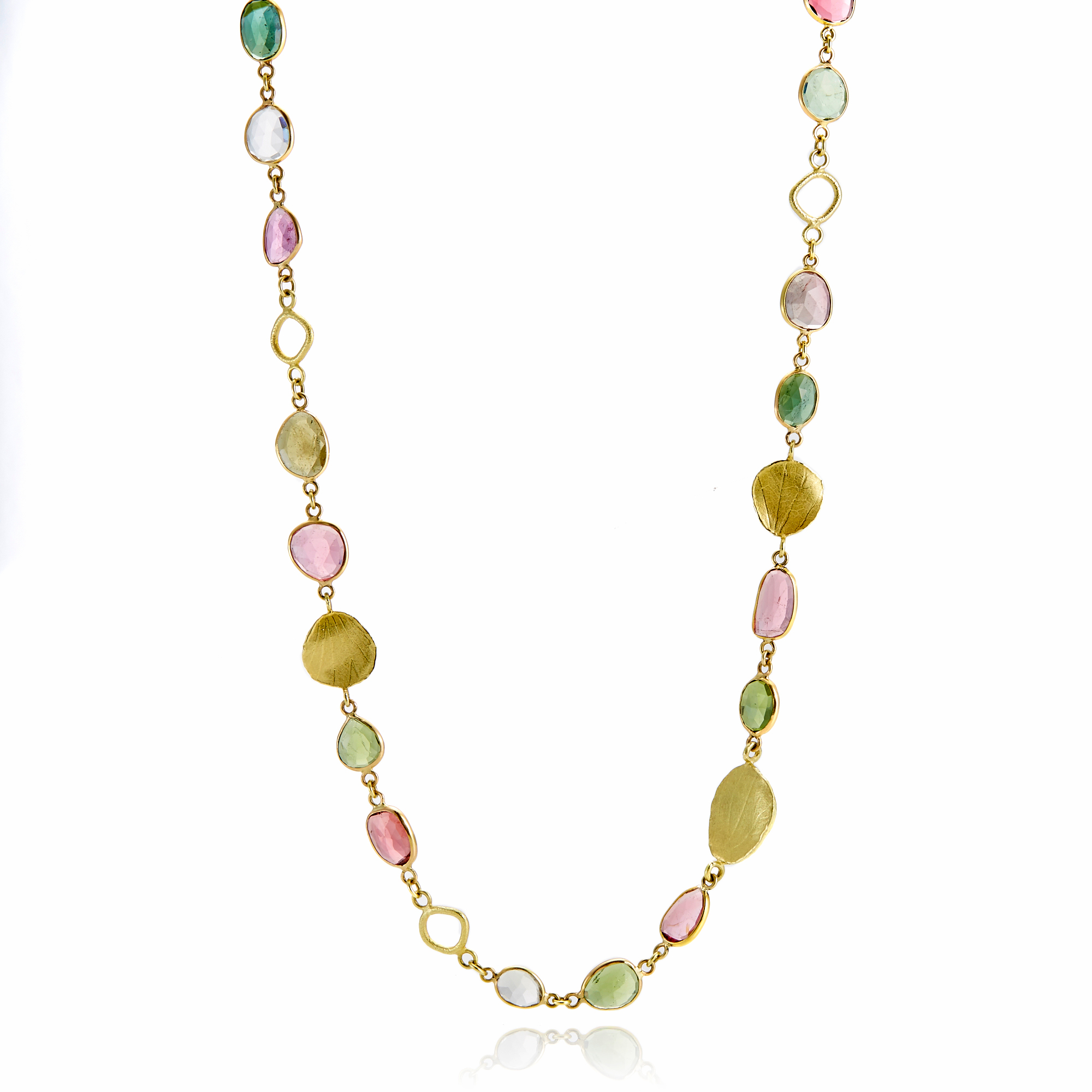 Barbara Heinrich Multi-Color Tourmaline & Gold Petal Necklace