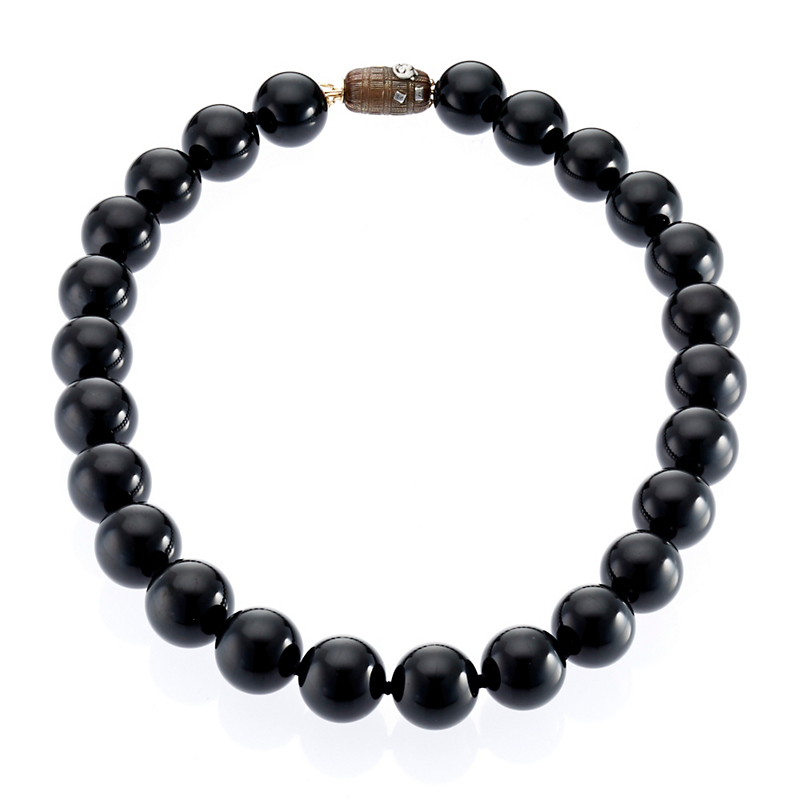 Gump's Black Nephrite Jade with Antique Ojime Clasp Necklace