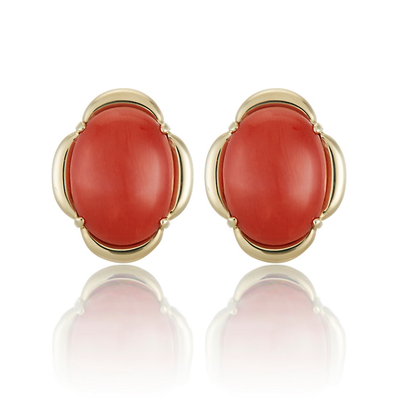 Gump's Red Coral Cabochon Scalloped Earrings