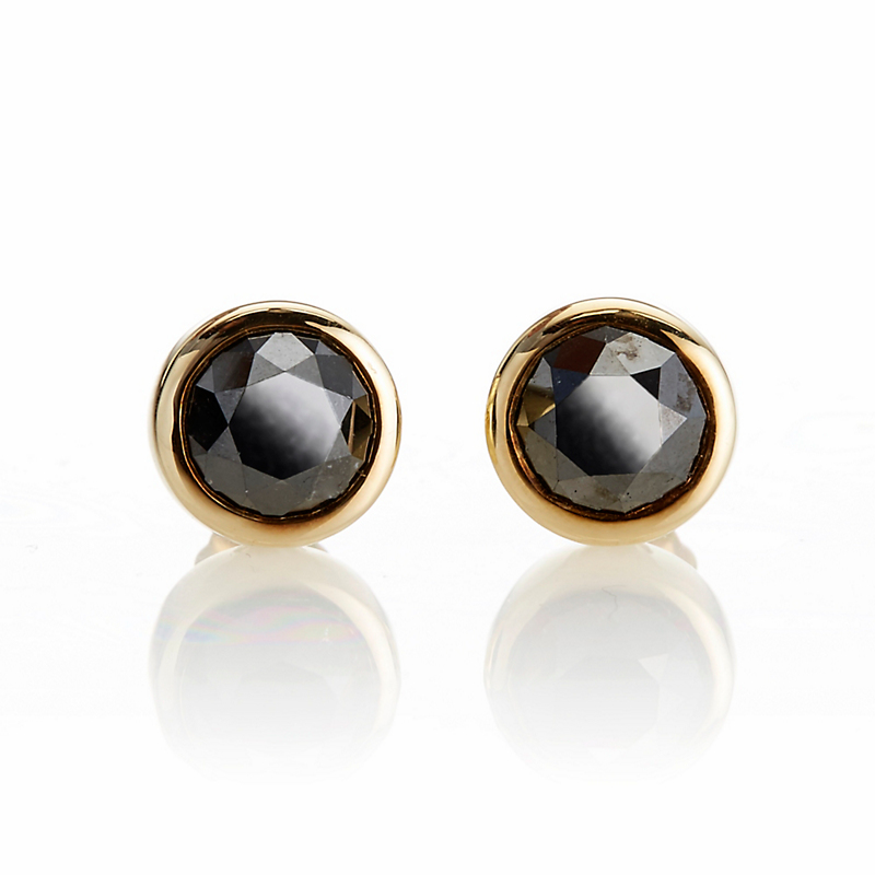 Gump's Black Diamond Round Stud Earrings