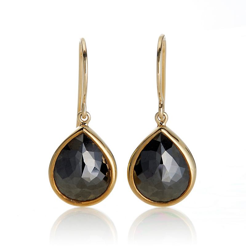 Gump's Black Diamond Teardrop Earrings