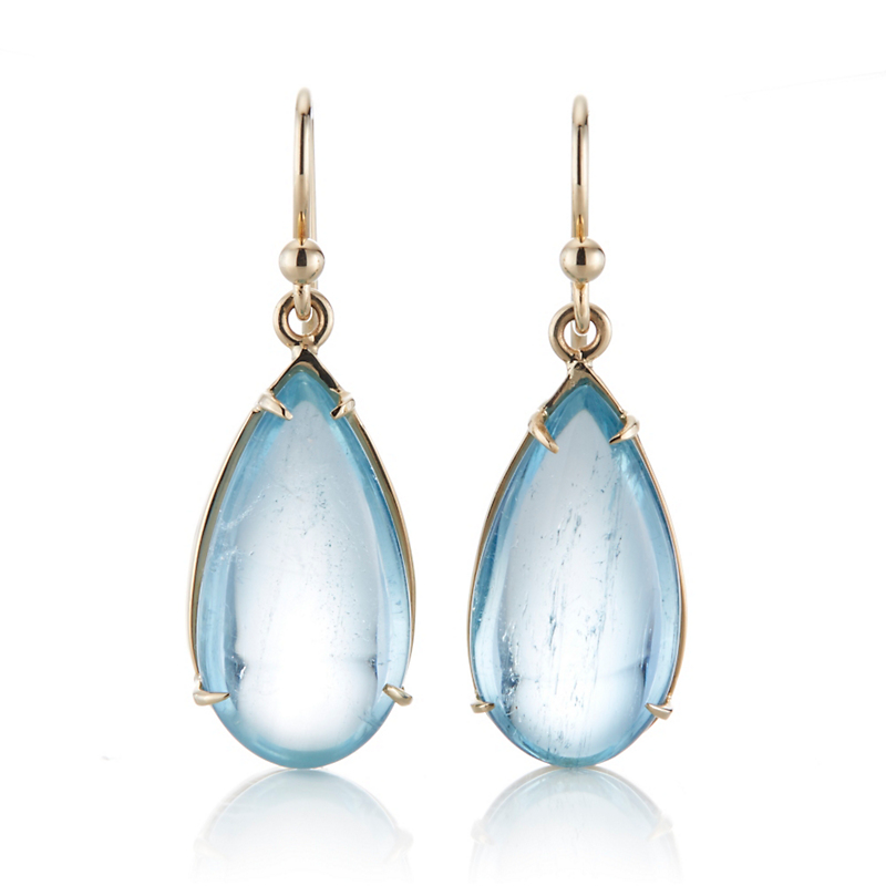 Gump's Aquamarine Cabochon and Gold Teardrop Earring